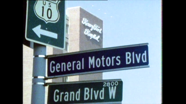 road signs and signage in detroit; 1986 - wall building feature stock videos & royalty-free footage