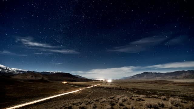 Road Stars Night Sky Time-Lapse
