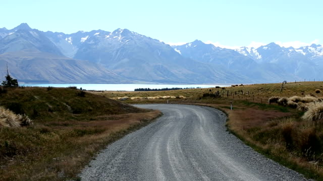 road through pasture near sea and distant snow mountains