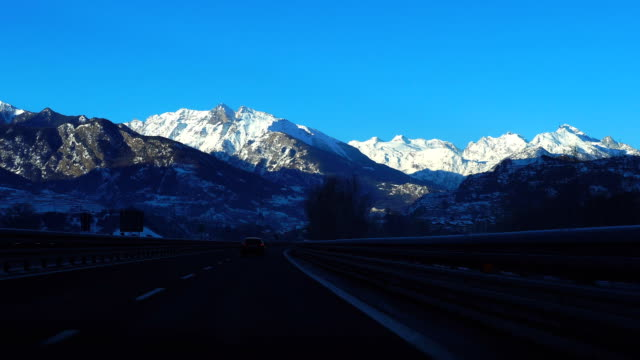 Road to Mont Blanc (highest mountain in Alps)
