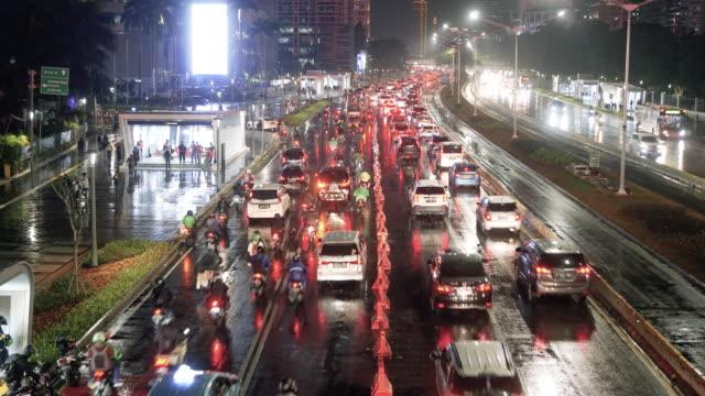 road traffic in big city - jakarta stock videos & royalty-free footage