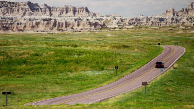 road trip badlands national park dakota prairie usa - south dakota stock-videos und b-roll-filmmaterial