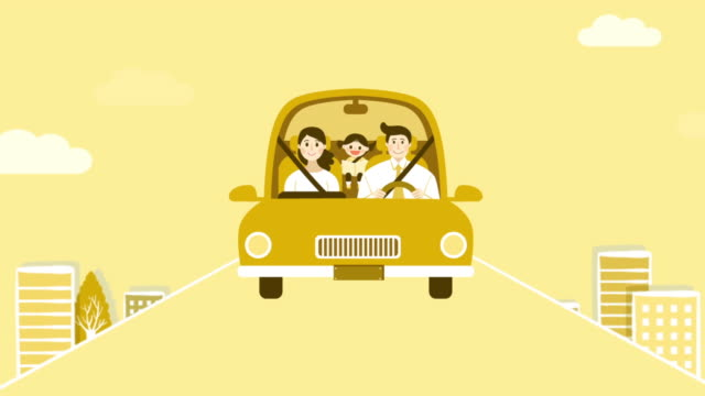 road trip with family - illustration stock videos & royalty-free footage