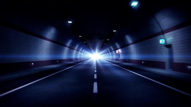 Road tunnel. Blue version. HD loop.