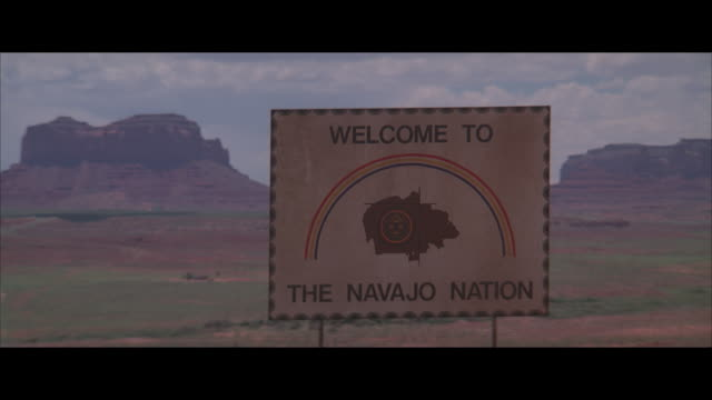 "ms, road ""welcome"" sign, arizona, usa - native american reservation stock videos & royalty-free footage"