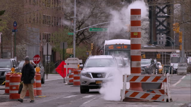 Road Work and a Steam Vent on Madison Street in Chinatown