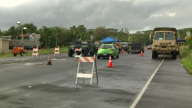 roadblocks in hawaii to keep people safe from the erupting kilauea volcano - kauai stock videos & royalty-free footage