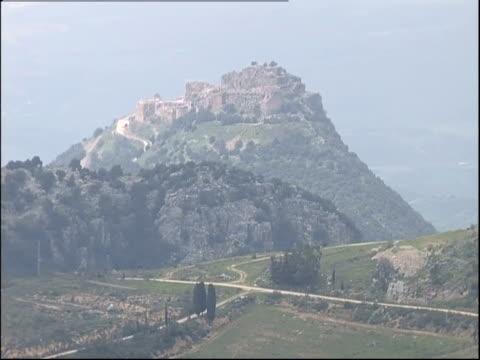 roads crisscross in the countryside near nimrod fortress. - crisscross stock videos & royalty-free footage