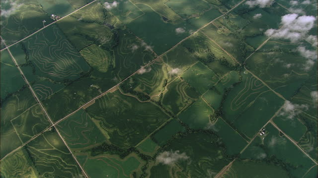roads cut farmland into a grid. - high up stock videos & royalty-free footage