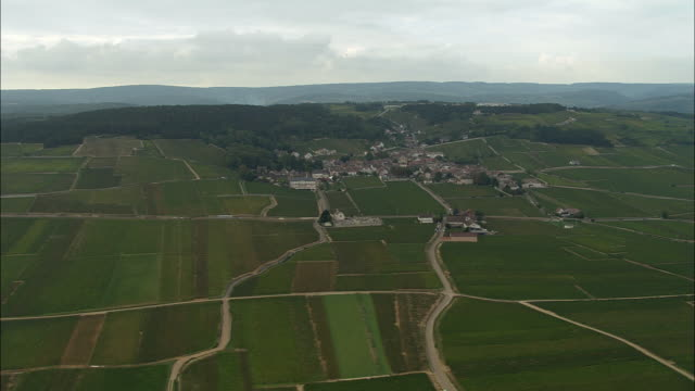 AERIAL WS Roads cutting through fields and surrounding landscape / Pommard, France