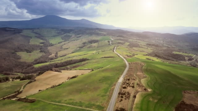 Roads of Tuscany from a drone