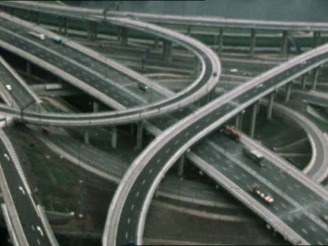 report on spaghetti junction says residents suffer fall in living standards; lib england: birmingham: ext air views / aerials spaghetti junction... - road junction stock videos & royalty-free footage