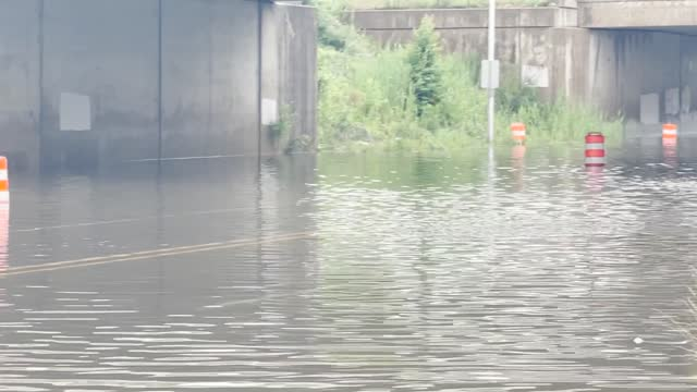 roads were submerged in detroit, michigan, on june 26, after heavy rainfall brought https://twitter.com/nwsdetroit/status/1408728348725940228 severe... - https stock videos & royalty-free footage