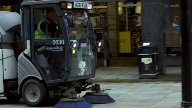roadsweeper vehicle and a pigeon, uk - tyne and wear stock videos & royalty-free footage