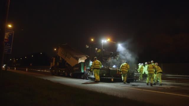 ms roadwork on highway at night / neasden, london, england, united kingdom - tarmac stock videos & royalty-free footage