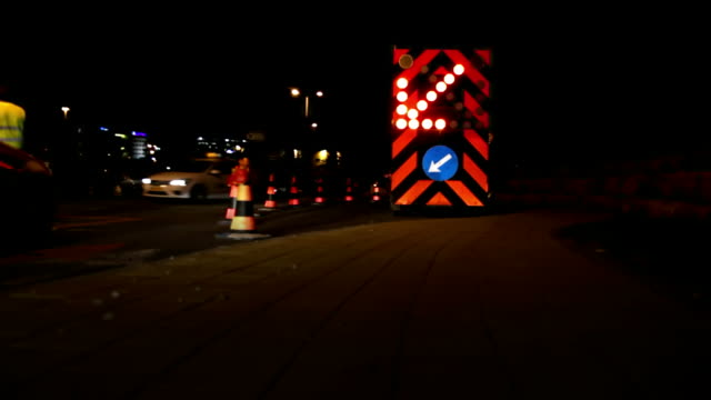 roadworks at night - road construction stock videos and b-roll footage