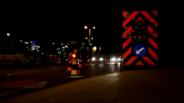 roadworks at night - blinking arrow stock videos & royalty-free footage