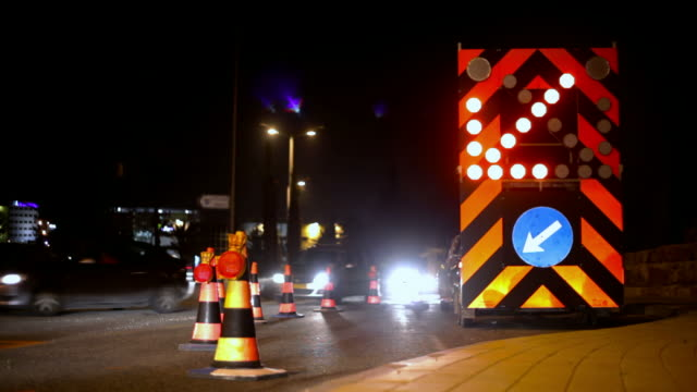 roadworks at night - roadworks stock videos & royalty-free footage