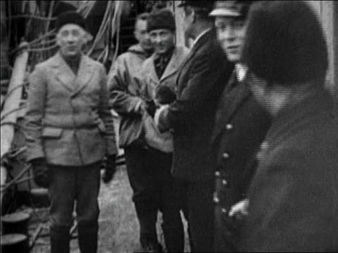 roald amundsen + admiral byrd pose with other men on boat / documentary - 1926 stock videos & royalty-free footage