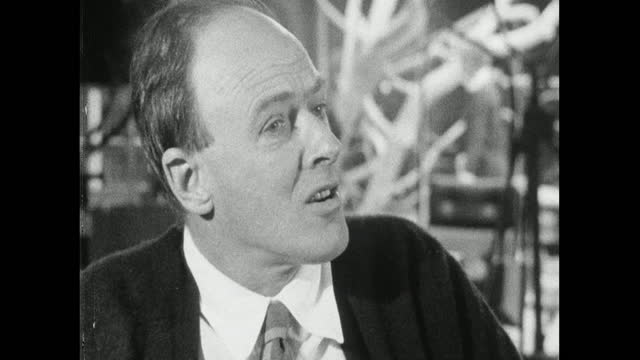 roald dahl, on the set of 'you only live twice', refers briefly to his own writing as not usually containing sex or sadism and defends the james bond... - balding stock videos & royalty-free footage