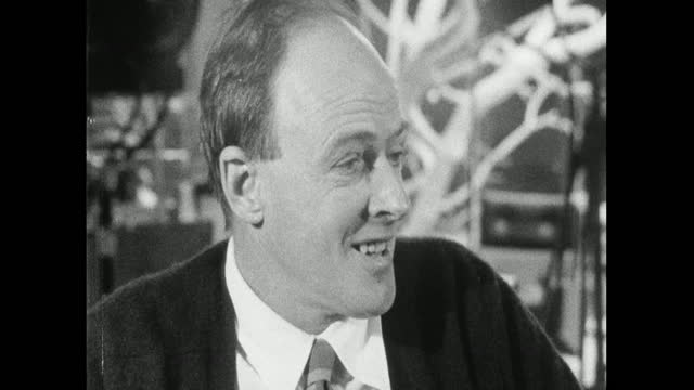 roald dahl, speaking on the set of 'you only live twice' in 1967, defends the character of james bond. - balding stock videos & royalty-free footage