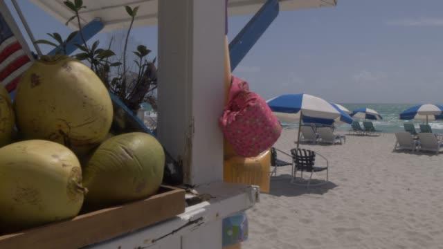 Roaming shot of beach hut and sunshades on Miami Beach, South Beach, Miami, Florida, United States of America, North America