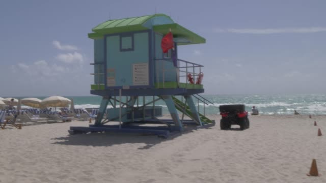 Roaming shot of colourful lifeguard watchtower on Miami Beach, South Beach, Miami, Florida, United States of America, North America