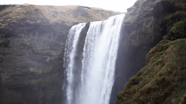 Roaring waterfall in Iceland, slow motion