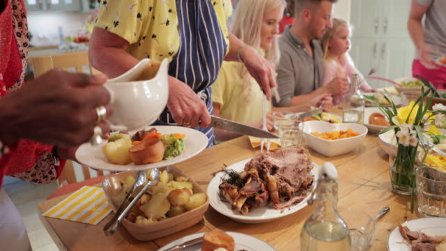 roast dinner to remember - roast dinner stock videos & royalty-free footage