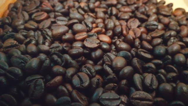 スマートフォンで撮影したアラビカコーヒー豆ハンドトラック - コーヒー豆点の映像素材/bロール