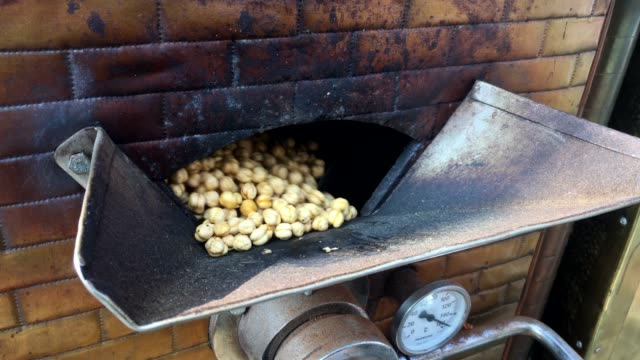 Roasted chickpeas spinning in the roasting machine