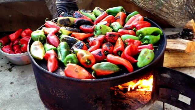 Roasted red and green peppers