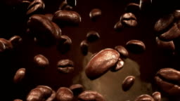 Roasting coffee beans falling