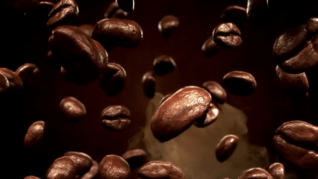 roasting coffee beans falling - roasted coffee bean stock videos & royalty-free footage