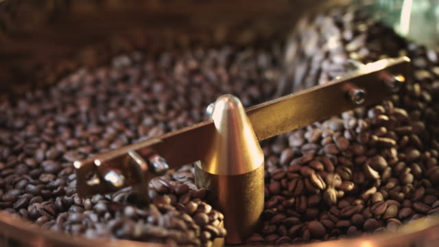 roasting coffee beans in roaster machine - roasted stock videos & royalty-free footage