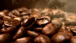 Roasting coffee beans smoke rising