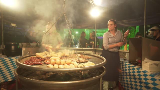 Roasting Sausages On Mobile Brat During Dublin (!) Oktoberfest