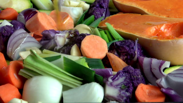 roasting vegetables -- panning footage - vegan food stock videos & royalty-free footage