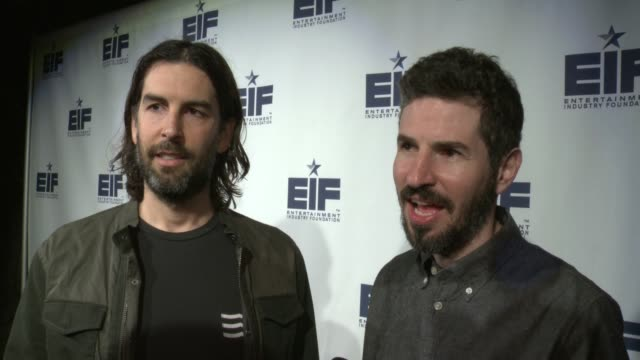 vídeos de stock, filmes e b-roll de interview rob bourdon brad delson of linkin park on why they wanted to celebrate eif's 75 anniversary at entertainment industry foundation 75th... - linkin park
