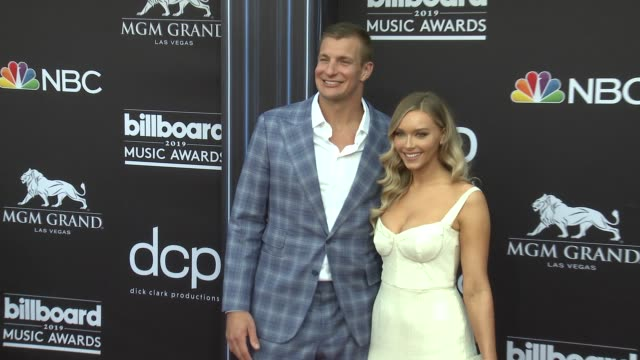 rob gronkowski and camille kostek at the 2019 billboard music awards at mgm grand garden arena on may 1 2019 in las vegas nevada - mgm grand garden arena stock videos & royalty-free footage