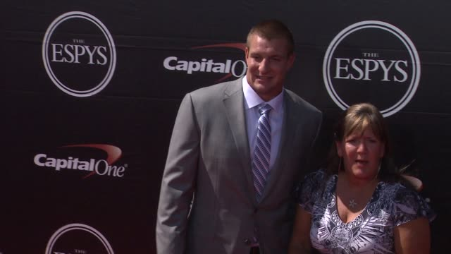 rob gronkowski at the 2015 espys at microsoft theater on july 15 2015 in los angeles california - microsoft theater los angeles stock videos and b-roll footage