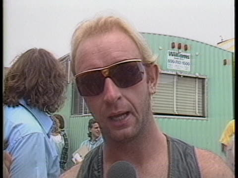 vídeos y material grabado en eventos de stock de rob halford of judas priest says that it is great to be at the live aid charity event, and mentions that judas priest and black sabbath are the only... - judas