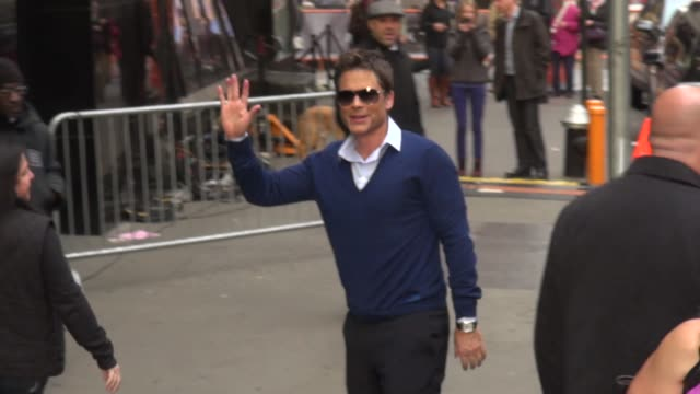rob lowe arrives at good morning america in celebrity sightings in new york 10/30/13 rob lowe arrives at good morning america in on october 30 2013... - rob lowe stock videos & royalty-free footage