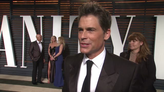 INTERVIEW Rob Lowe at the 2015 Vanity Fair Oscar Party Hosted By Graydon Carter at the Wallis Annenberg Center for the Performing Arts on February 22...
