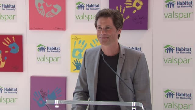 rob lowe at the 'valspar hands for habitat' celebrity auction kickoff at new york ny - rob lowe stock videos & royalty-free footage