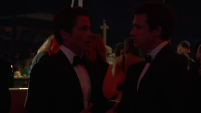 rob lowe jason bateman at the 2011 vanity fair oscar party inside at hollywood ca - rob lowe stock videos & royalty-free footage