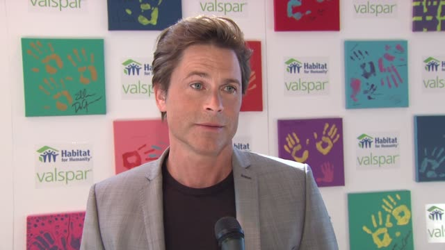 rob lowe on some of the celebrities that donated their hand prints at the 'valspar hands for habitat' celebrity auction kickoff at new york ny - rob lowe stock videos & royalty-free footage