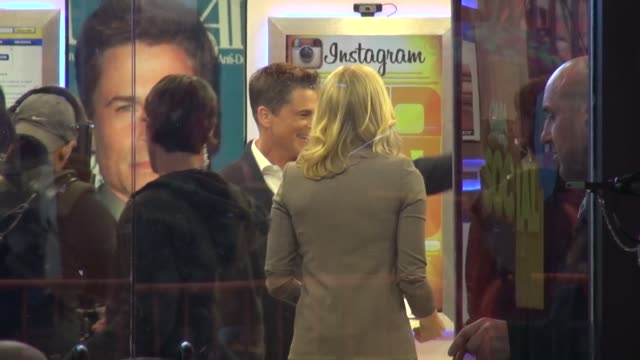 rob lowe talking with lara spencer on the set of the good morning america show in celebrity sightings in new york - rob lowe stock videos & royalty-free footage