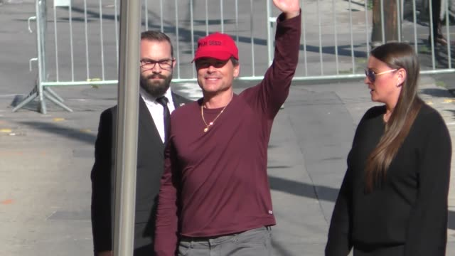 rob lowe waves to fans outside jimmy kimmel live at el capitan theater in hollywood in celebrity sightings in los angeles - rob lowe stock videos & royalty-free footage