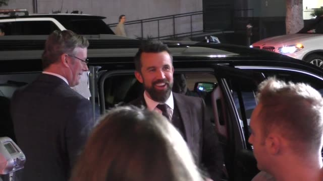 rob mcelhenney, charlie day & jessie ennis outside the mythic quest - raven's banquet premiere at arclight cinerama dome in hollywood in celebrity... - cinerama dome hollywood stock videos & royalty-free footage